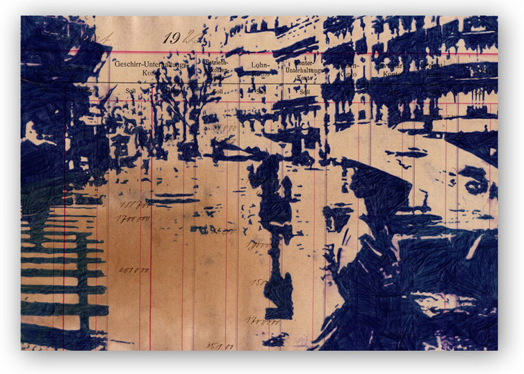 Peer Böhm: Woanders ist auch schön - Paris 1968 Kugelschreiber auf Papier